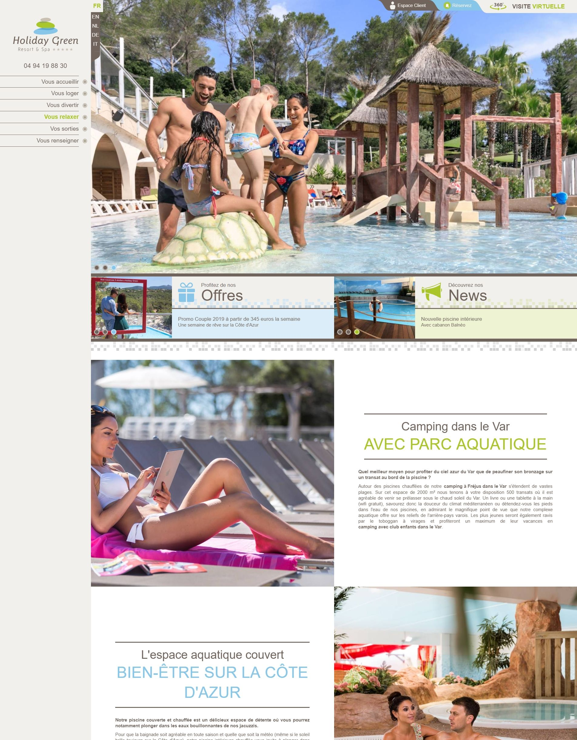 Holidaygreen : Page standard Version ordinateur